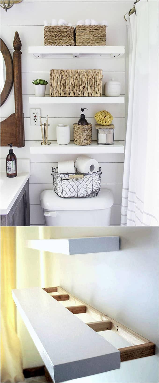 Mensole salvaspazio in bagno