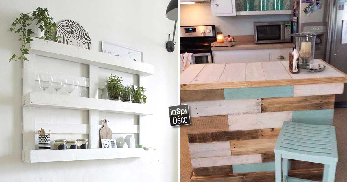 recyclage de palettes pour votre cuisine 15 id es pour. Black Bedroom Furniture Sets. Home Design Ideas