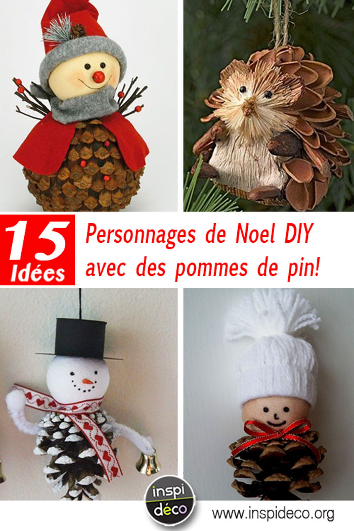 personnages de noel diy avec des pommes de pin 15 id es inspirantes. Black Bedroom Furniture Sets. Home Design Ideas
