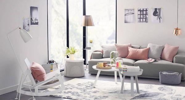 Salon en gris et rose voici 15 exemples pour se faire une for Decorer son salon en gris