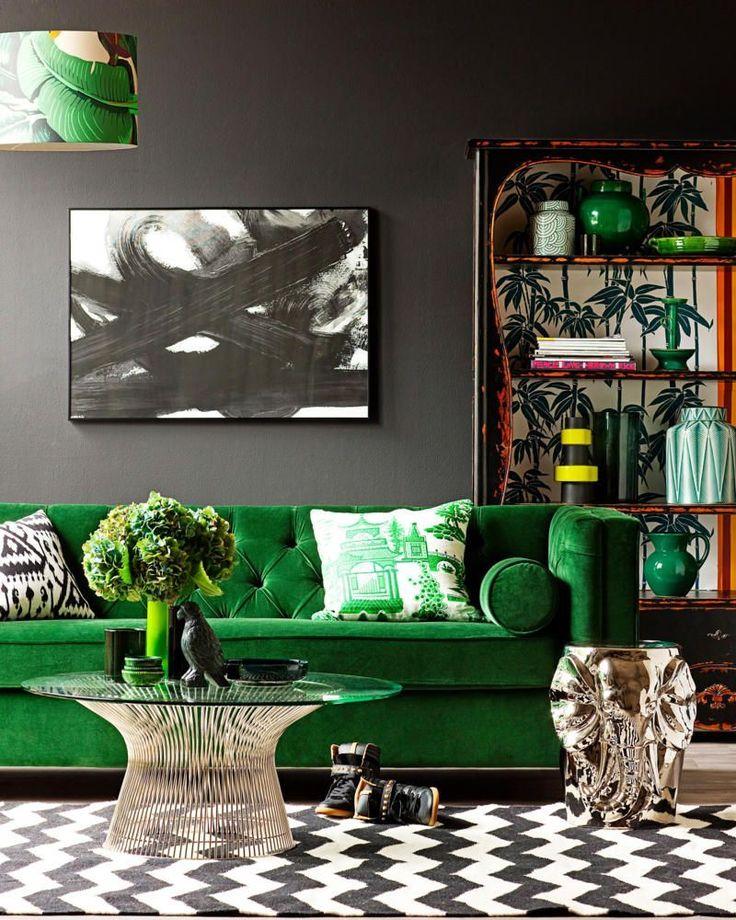 Soggiorno grigio e verde