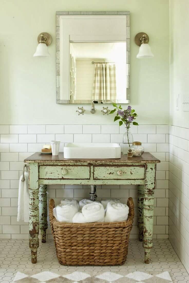salle de bain shabby chic voici 20 id es qui sauront vous. Black Bedroom Furniture Sets. Home Design Ideas