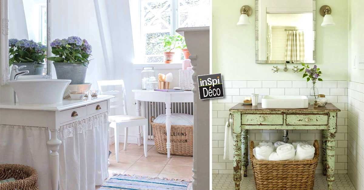 salle de bain shabby chic voici 20 id es qui sauront vous. Black Bedroom Furniture Sets. Home Design Ideas