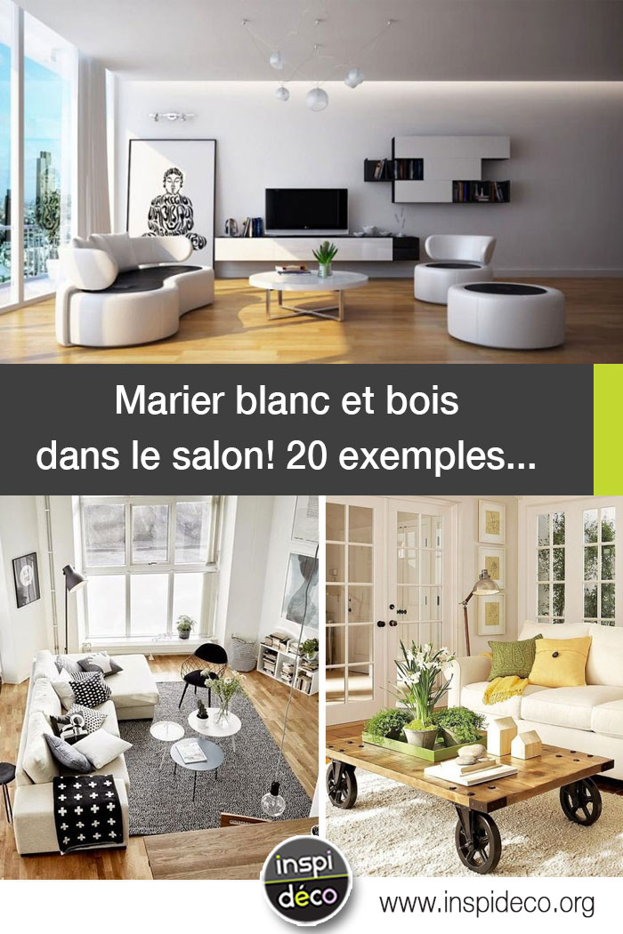 marier blanc et bois dans le salon 20 exemples qui sauront vous inspirer. Black Bedroom Furniture Sets. Home Design Ideas