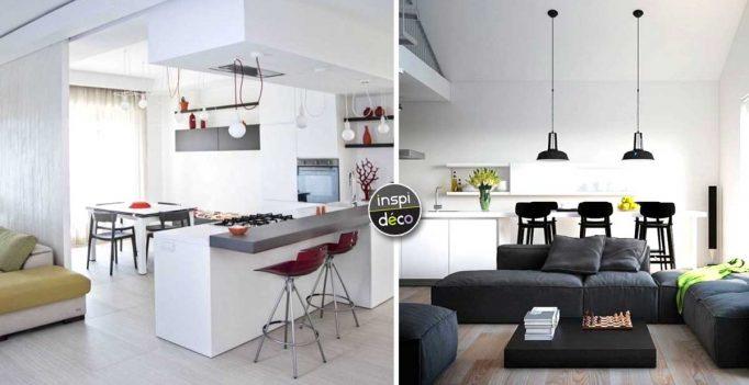 cuisine ouverte sur le s jour 14 id es pour vous inspirer. Black Bedroom Furniture Sets. Home Design Ideas