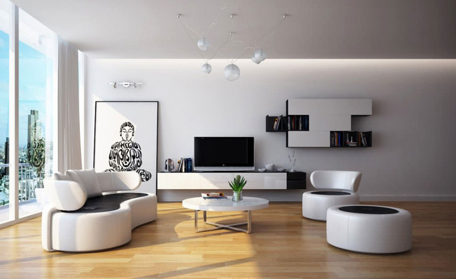 Sposato con bianco e legno nel soggiorno! 20 esempi che verranno ...