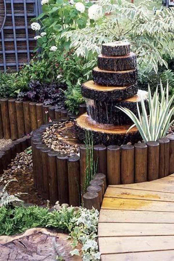 Fontaine en bois 15 id es pour un d cor aquatique dans le for Fontane in legno