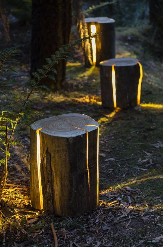 Tronc d'arbre déco jardin