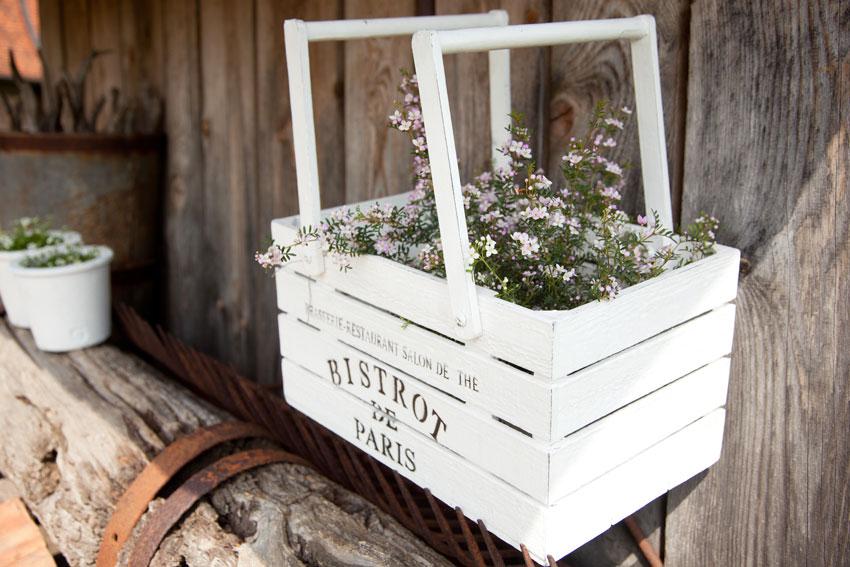 caisses en bois fleurs
