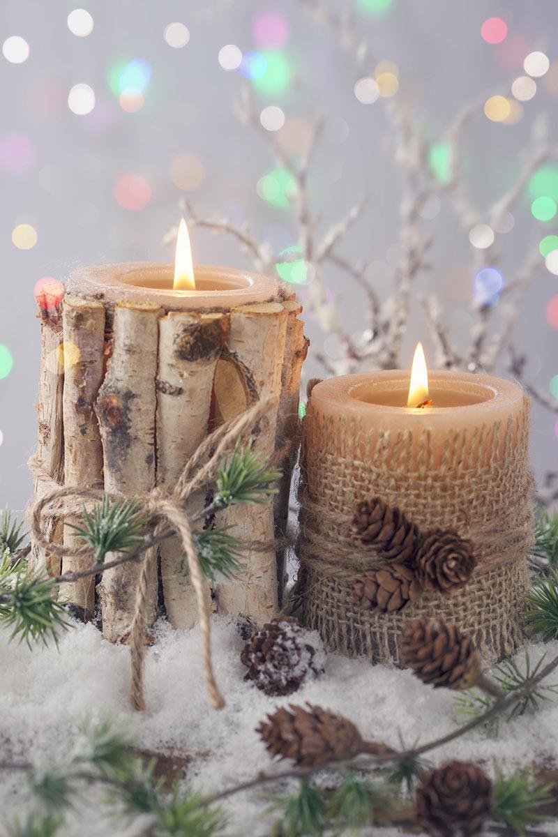 Bougeoir déco Noël en bois recyclé.