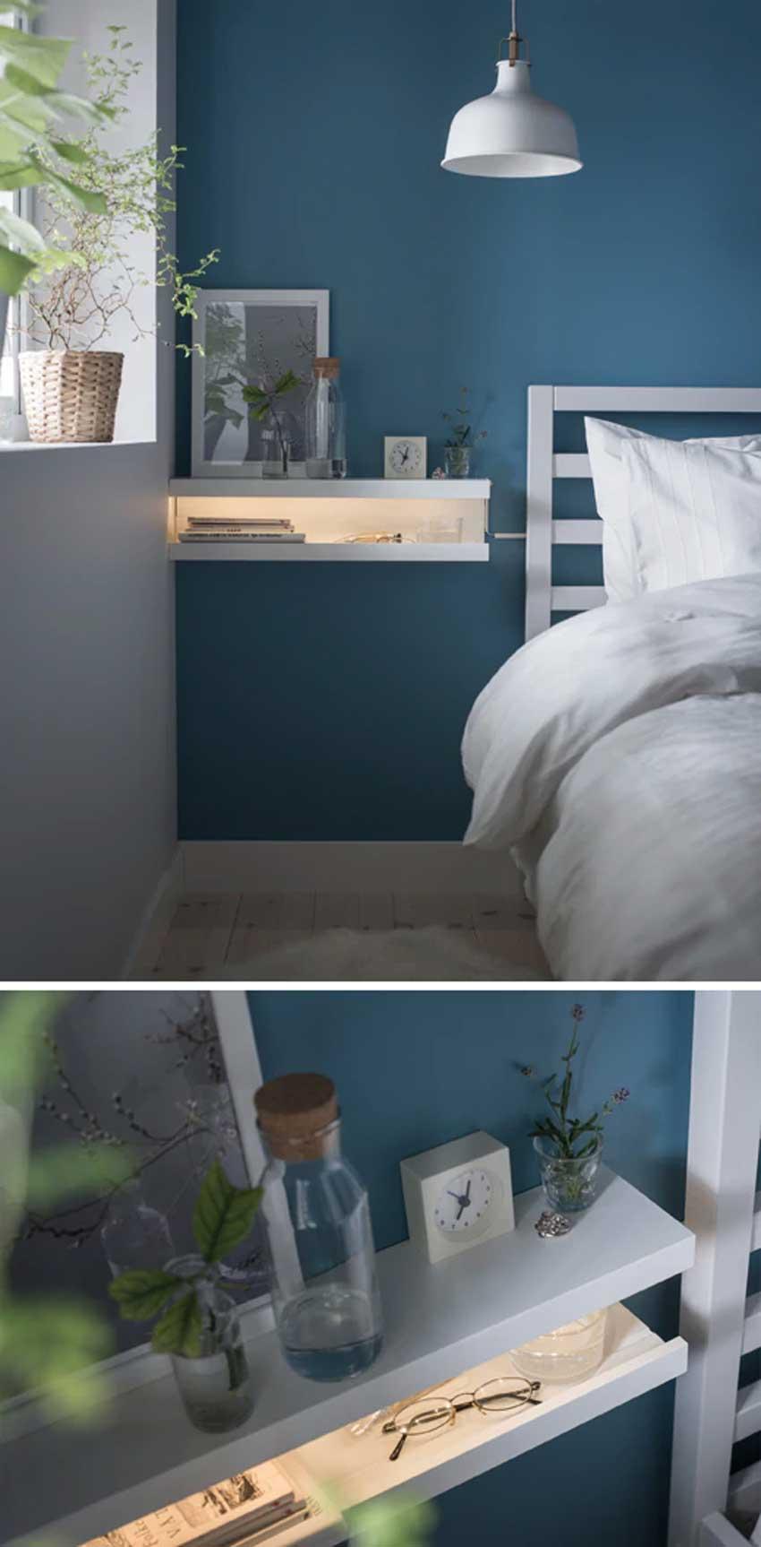 Étagère IKEA Mosslanda chambre à coucher.