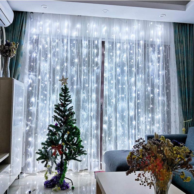 Lumières pour rideaux Noël.