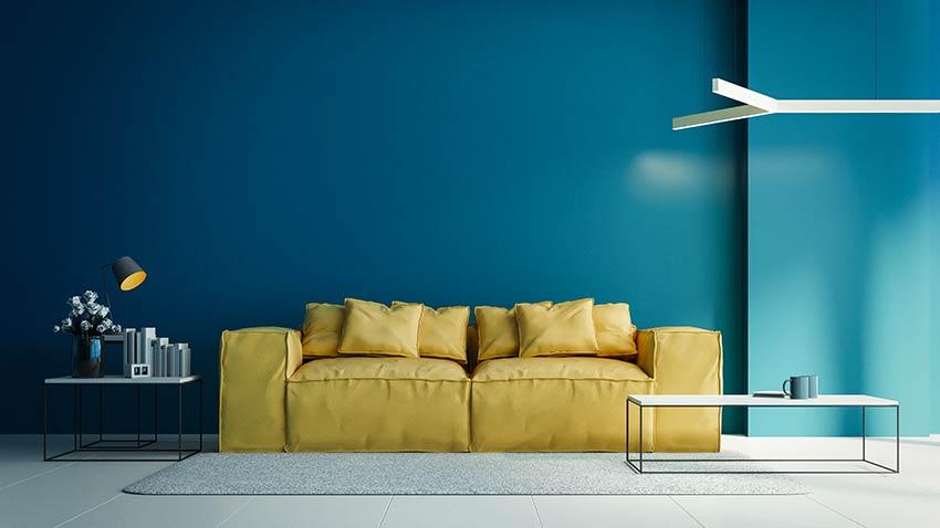 Décorer le salon avec bleu pantone 2020.
