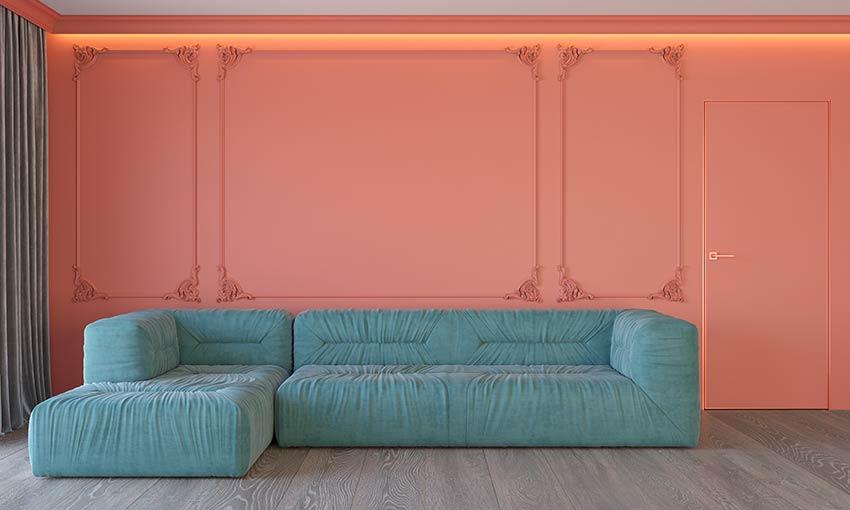 Décorer le salon avec pantone Bleached Coral 2020.
