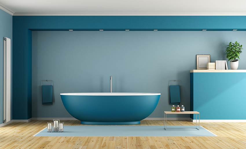 Baignoire salle de bain de couleur bleu pantone 2020.