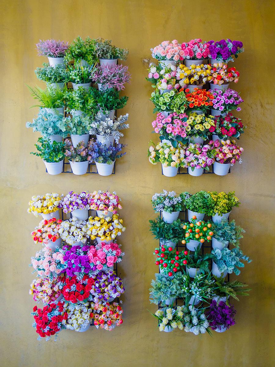 Petit jardin vertical avec fleurs colorées.