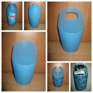 bouteille de shampoing récupérée et transformée en porte objets