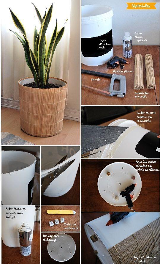 Seau de peinture en plastique recyclé en vase