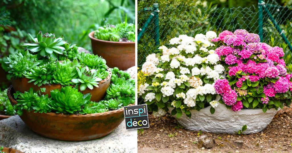 un vase de fleurs original pour décorer le jardin.