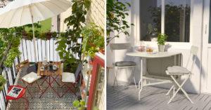 solutions IKEA pour aménager un petit balcon.