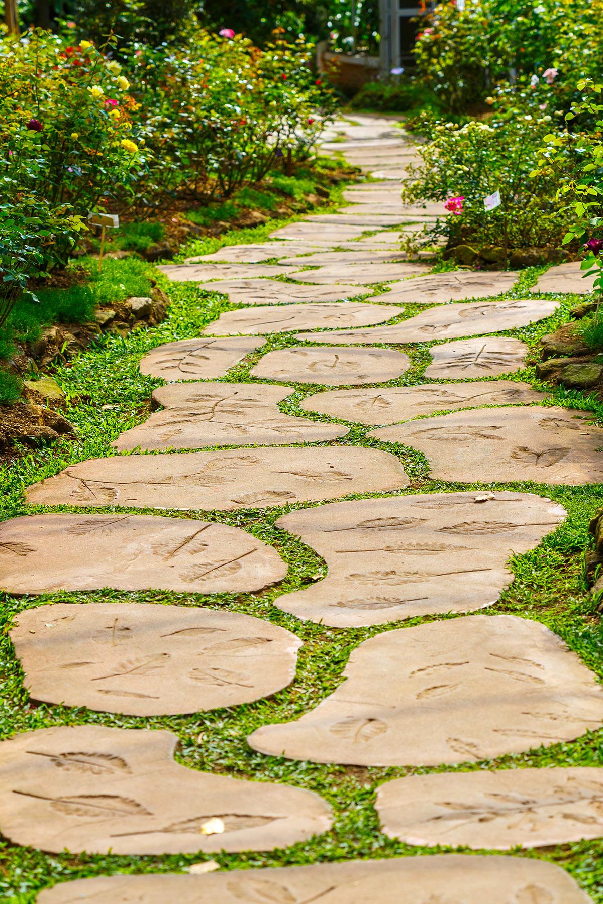 Allée en pierres naturelles dans le jardin.