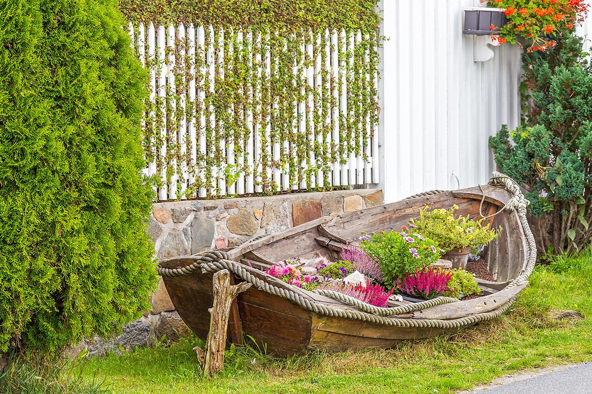 vieux bateau en bois décoré de fleurs