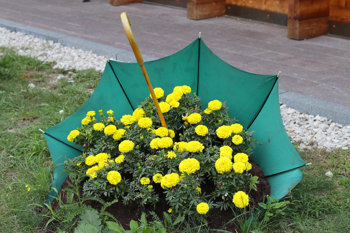 vieux parapluie recyclé et décoré avec fleurs jaunes