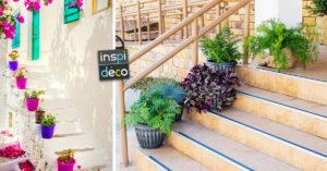 Décorer les escaliers extérieurs avec des pots de fleurs
