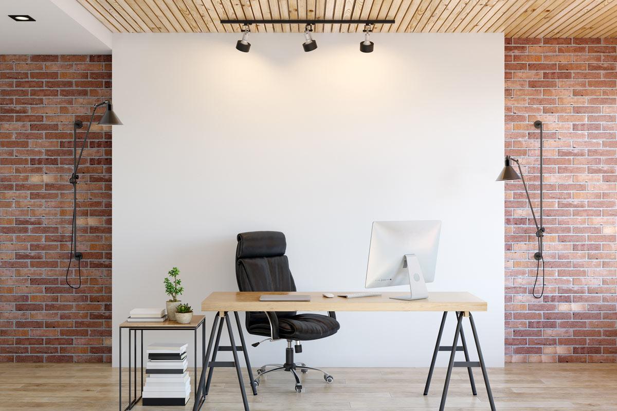 bureau à la maison meublé en style vintage
