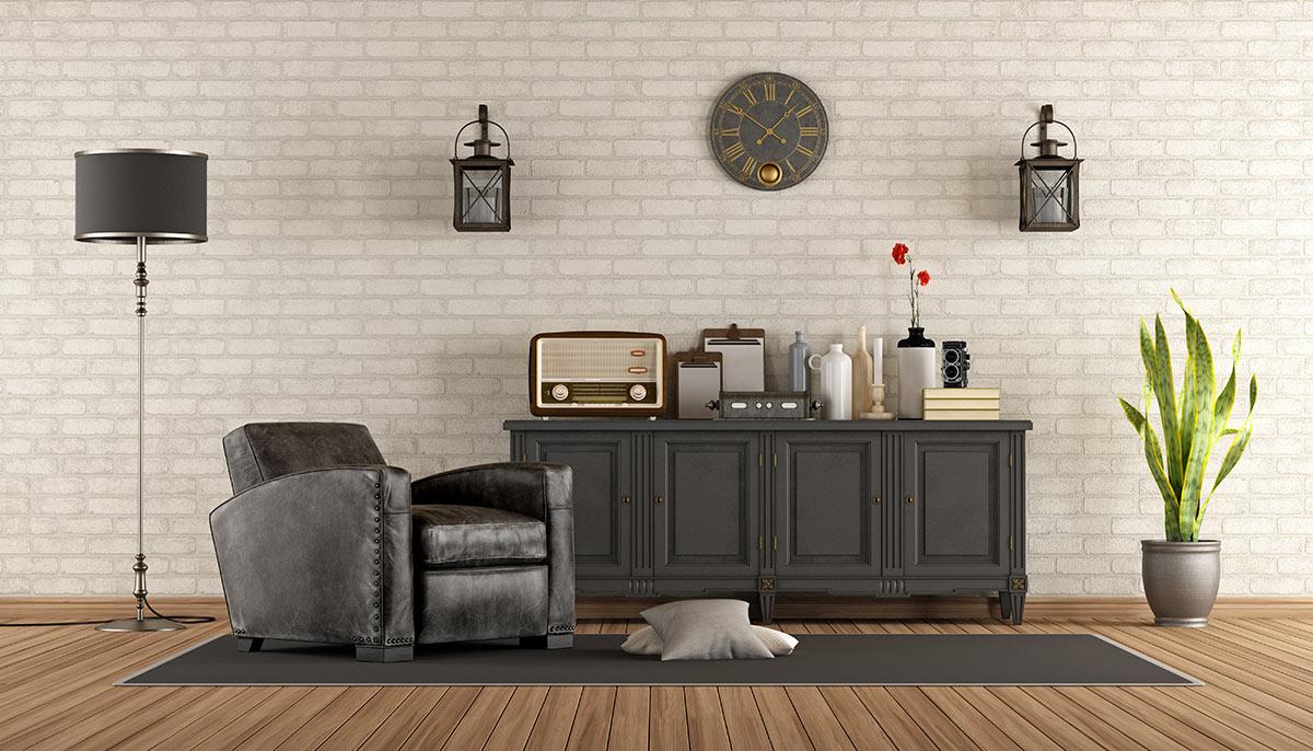 séjour avec mobilier vintage.
