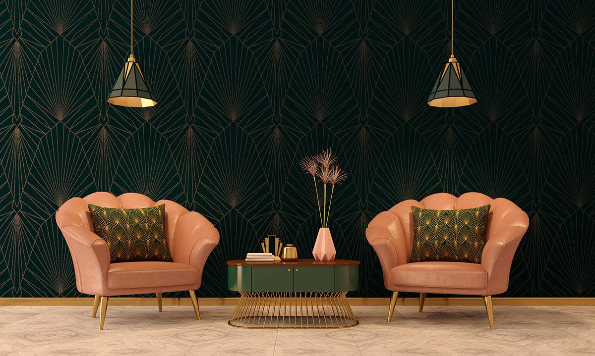 Lampadaires et fauteuils vintage.