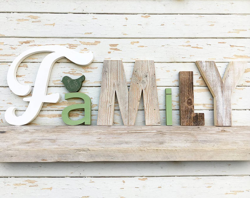 écriture family DIY shabby