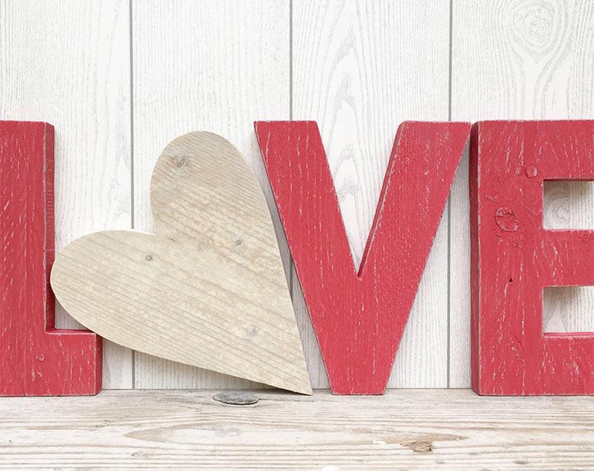 déco love rouge avec coeur