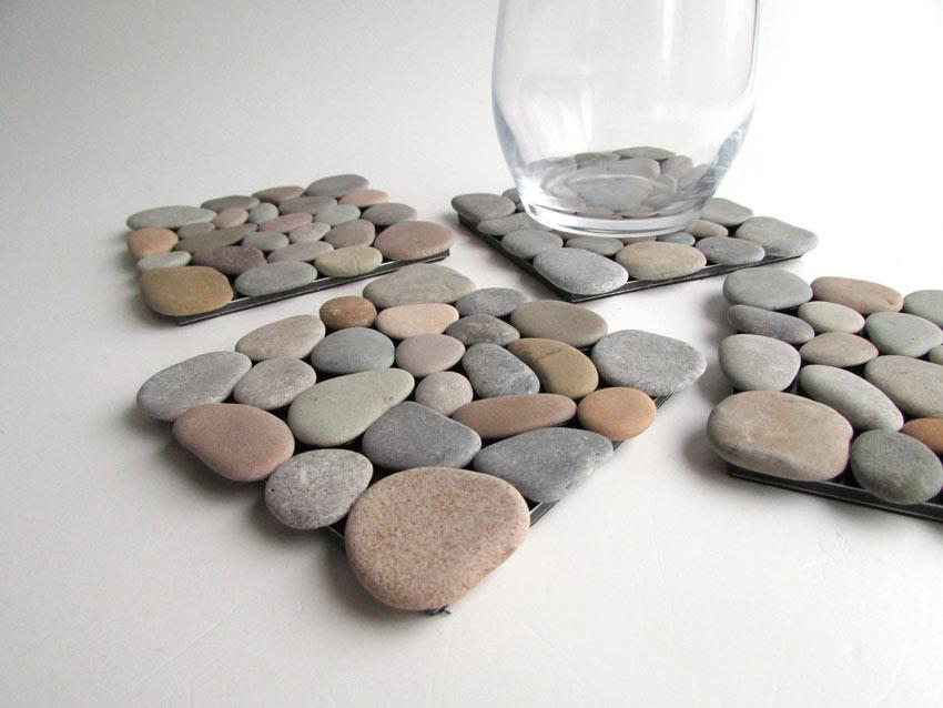 petits travaux créatifs DIY dessous de verre avec galets