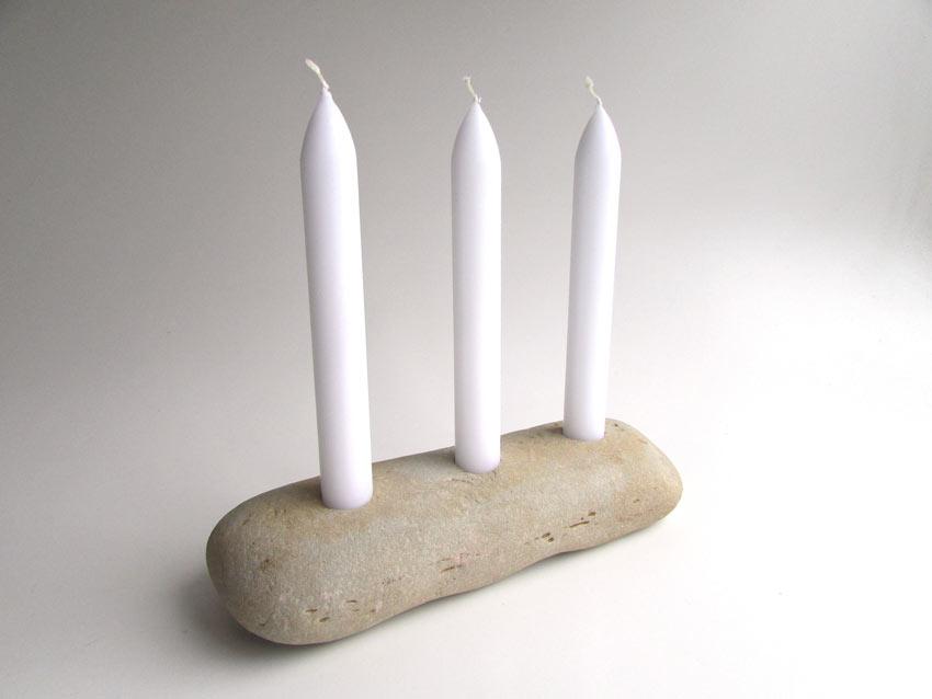 bougeoir original DIY avec pierre oblongue