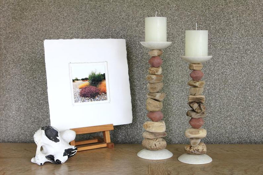 bougeoir DIY avec pierres