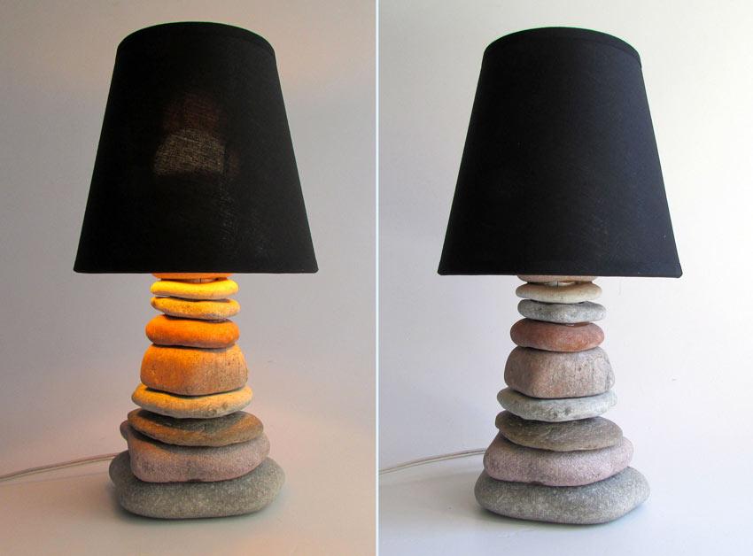 lampe abat-jour noir avec galets