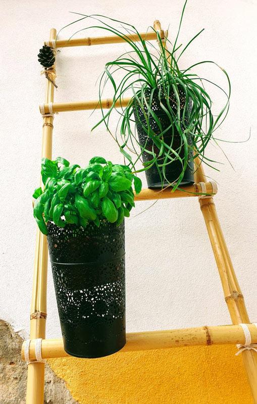 décoration échelle DIY en bambou
