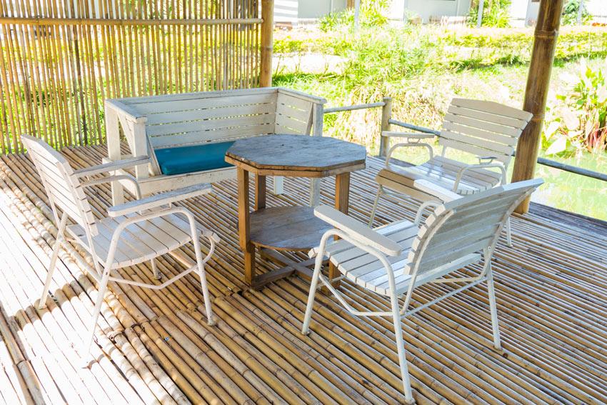 salon d'extérieur en bambou