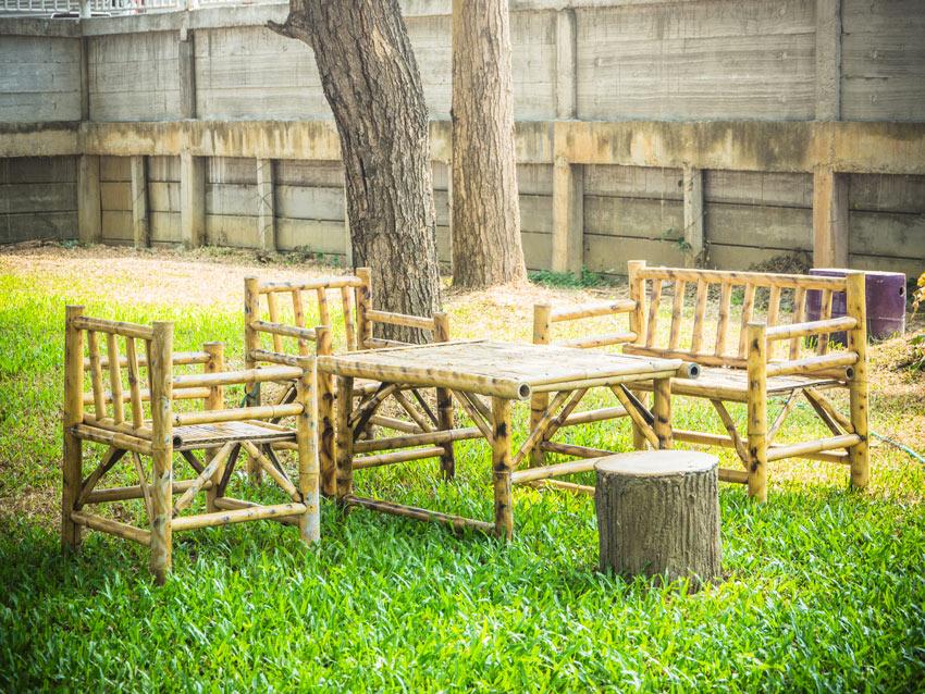 très beau salon en bambou
