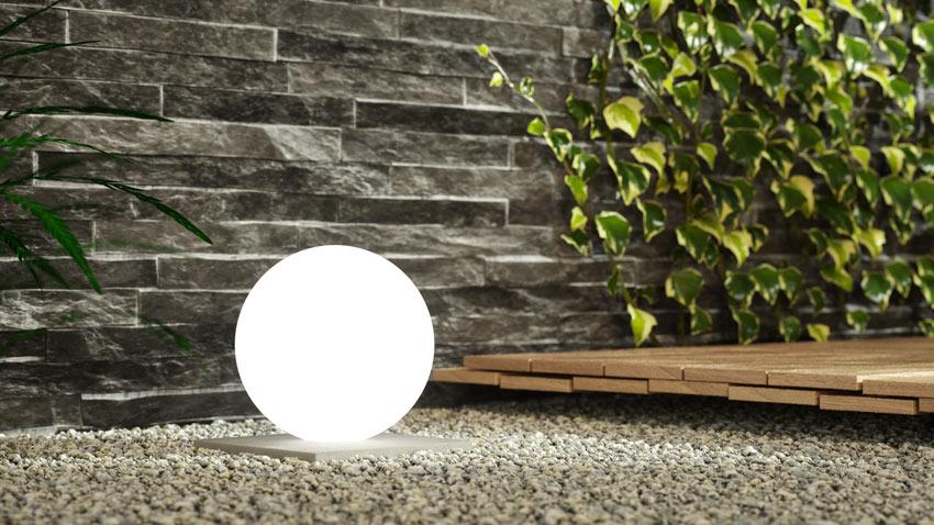 lampe LED en forme de sphère pour jardin