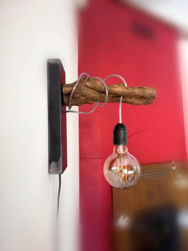 lampe DIY avec morceau de bois et ampoule