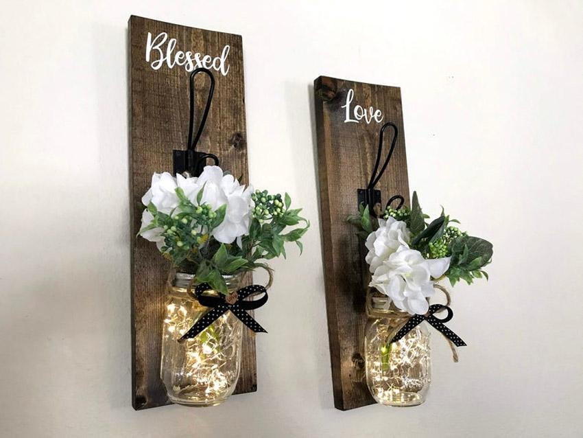 lampe DIY avec bocaux et planches de bois