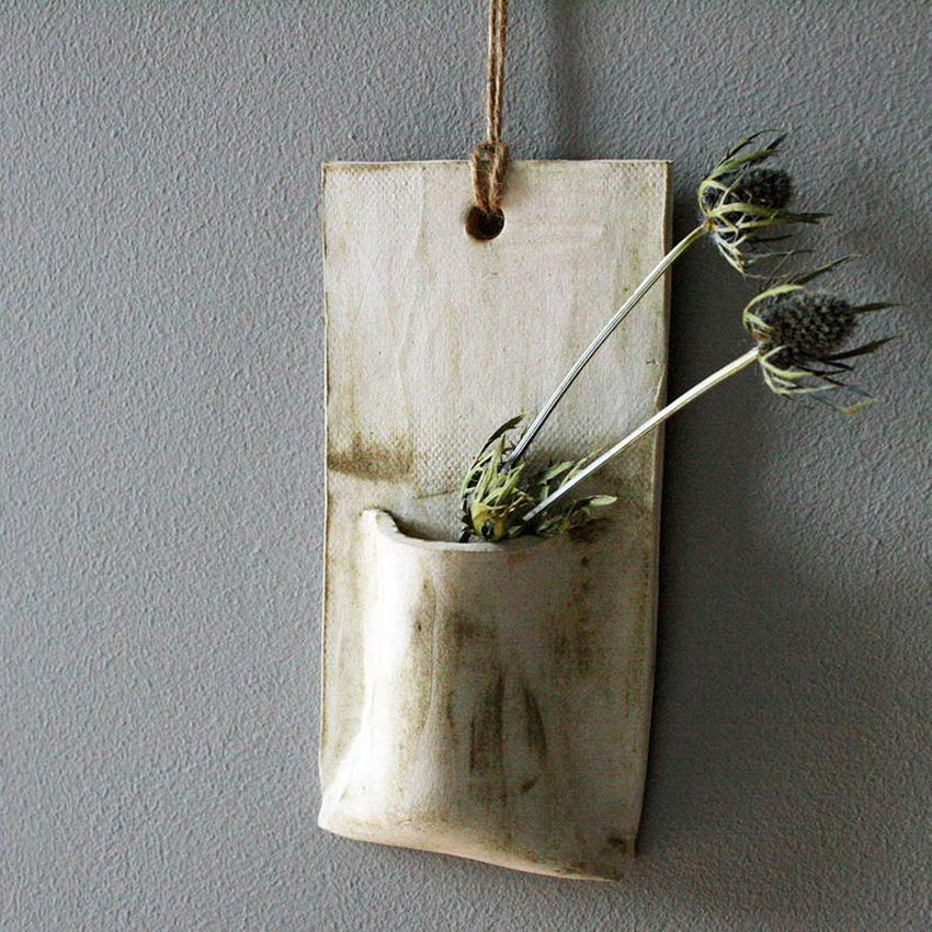 petit porte-fleur original DIY en céramique en forme de poche