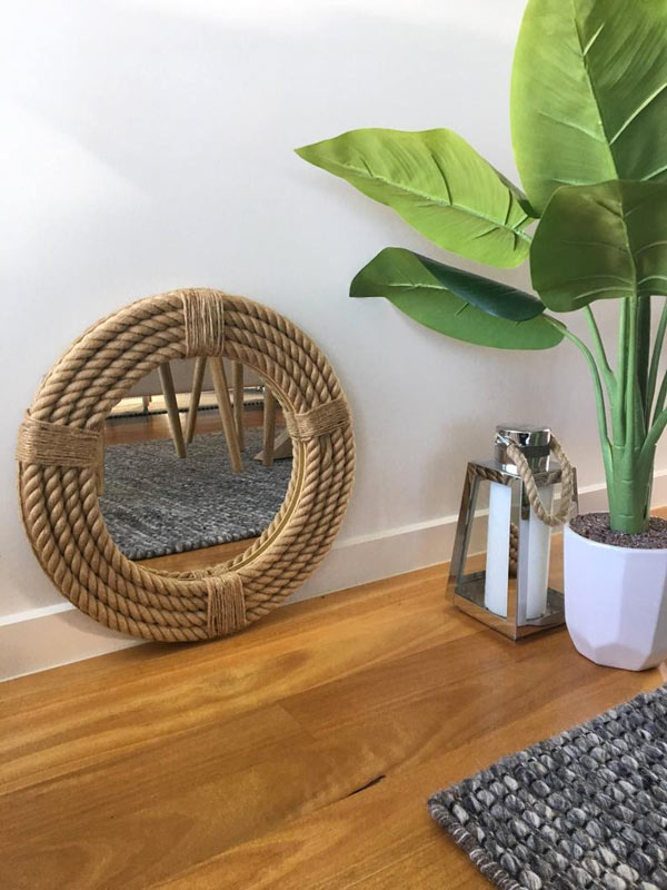 miroir rond avec cadre en corde DIY