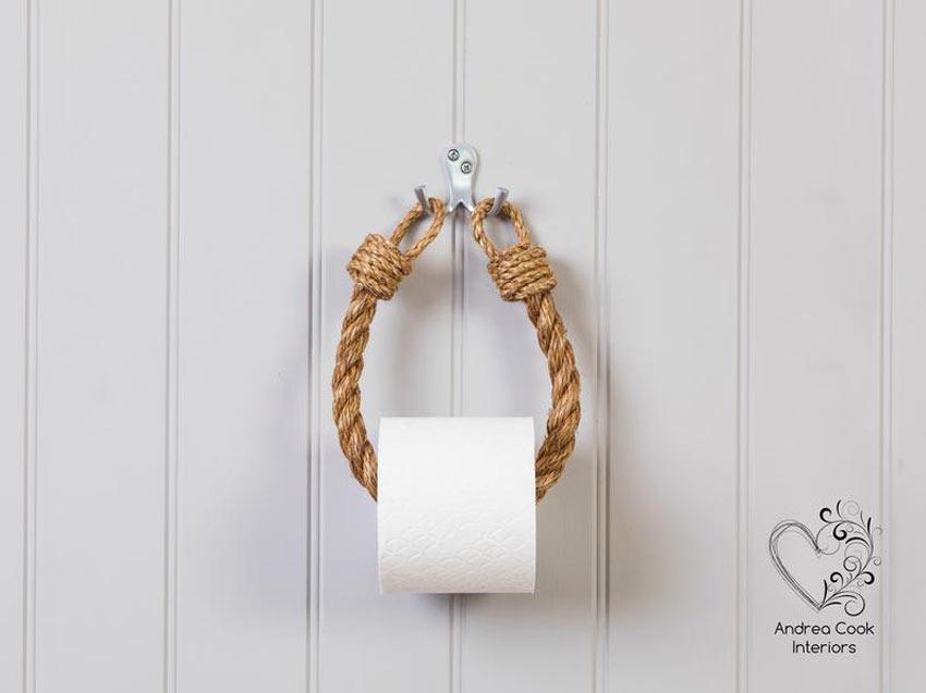 porte rouleaux de toilette en corde