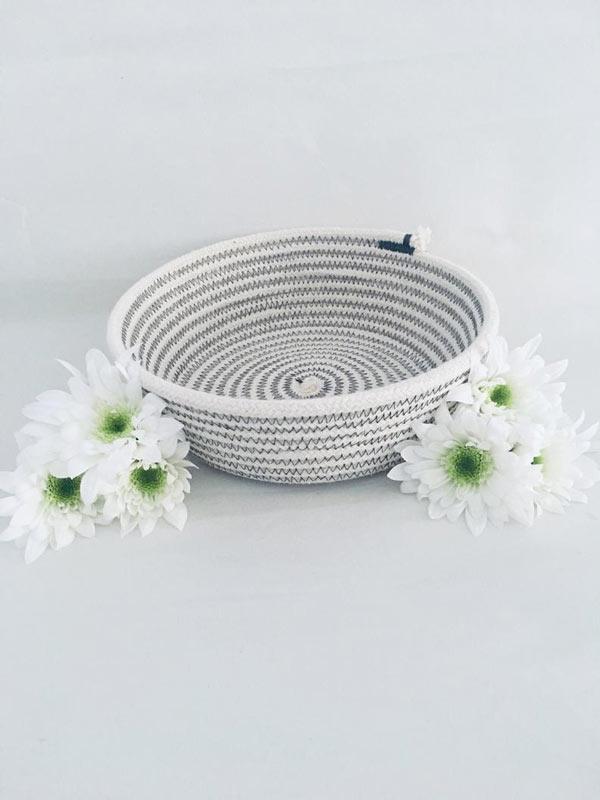 panier en corde gris DIY