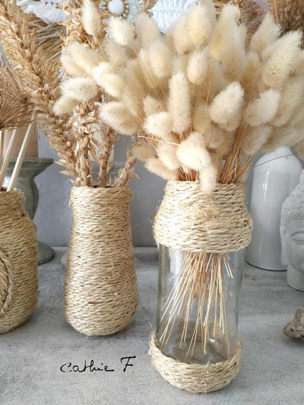 vase en verre DIY avec jute