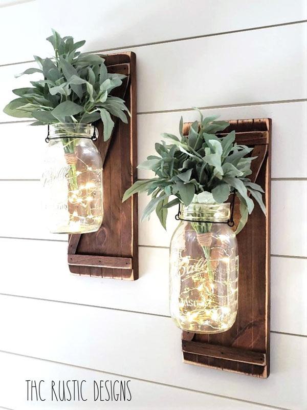 style rustique avec bocaux en verre et vieux volets en bois DIY
