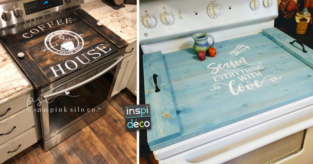 couvre plaque de cuisson en bois style country